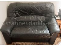 Black 2 seater real leather sofa excellent condition - pick up London NW3