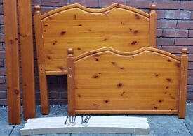 single-size pine wood bed frame. In used but good condition