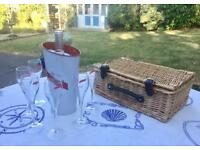 G.H. Mumm Champagne Glasses/Ice Bucket & Hamper