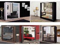 Cash on delivery Chicago Mirrored 2 Door Sliding Wardrobe Size 90cm/120cm/150cm/180cm/203cm/250cm