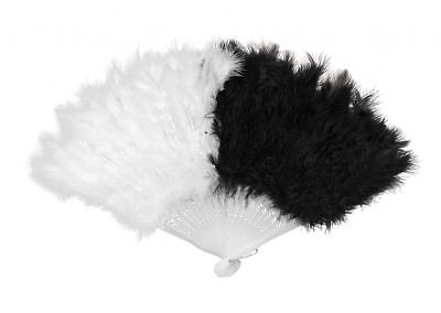 Marabou Black White Fan with Feathers Women's Geisha Asian Costume - Geisha Costume Accessories