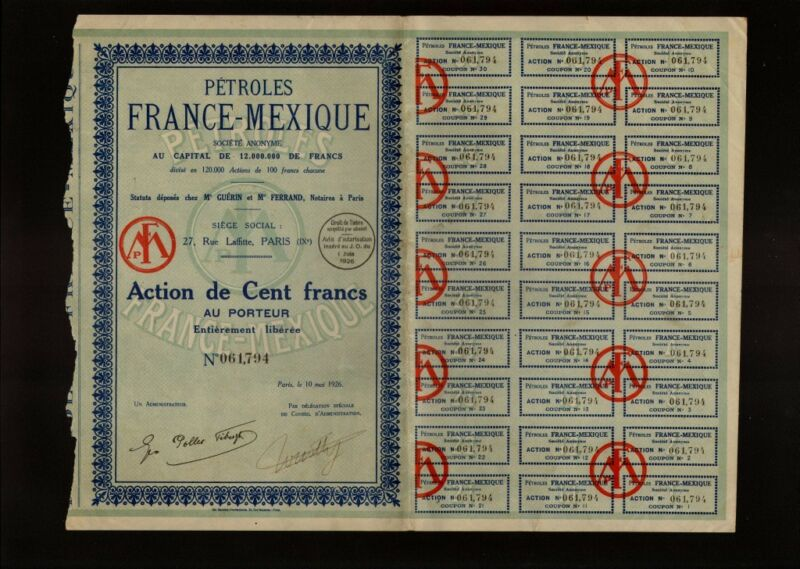 MEXICO OIL / PETROLES FRANCE MEXIQUE 1926 with dividend coupons uncancelled