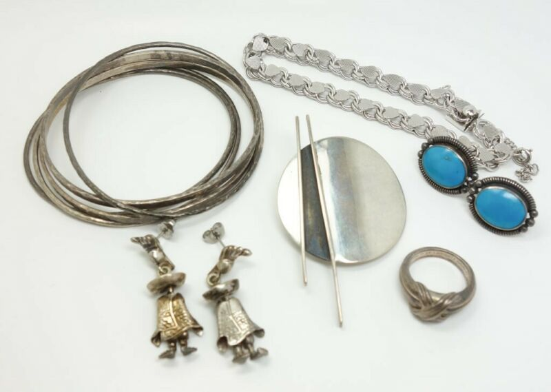 Vintage Lot 6 Sterling Silver Bracelets Earrings Brooch Tiffany & Co X Ring