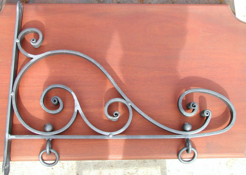 Sign Bracket Hanger, Wrought Iron Nautilus Scroll, Hand Forged USA Blacksmiths