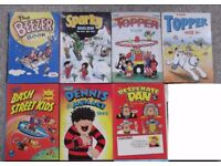 7 comic annuals - Beezer, Desperate Dan, Bash Street Kids, Dennis the Menace, Sparky and Topper