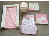 Baby girl room decorations and items: nappy stacker change mat pictures light lamp shade