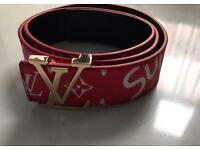 Supreme X Louis Vuitton LV Red Leather belt
