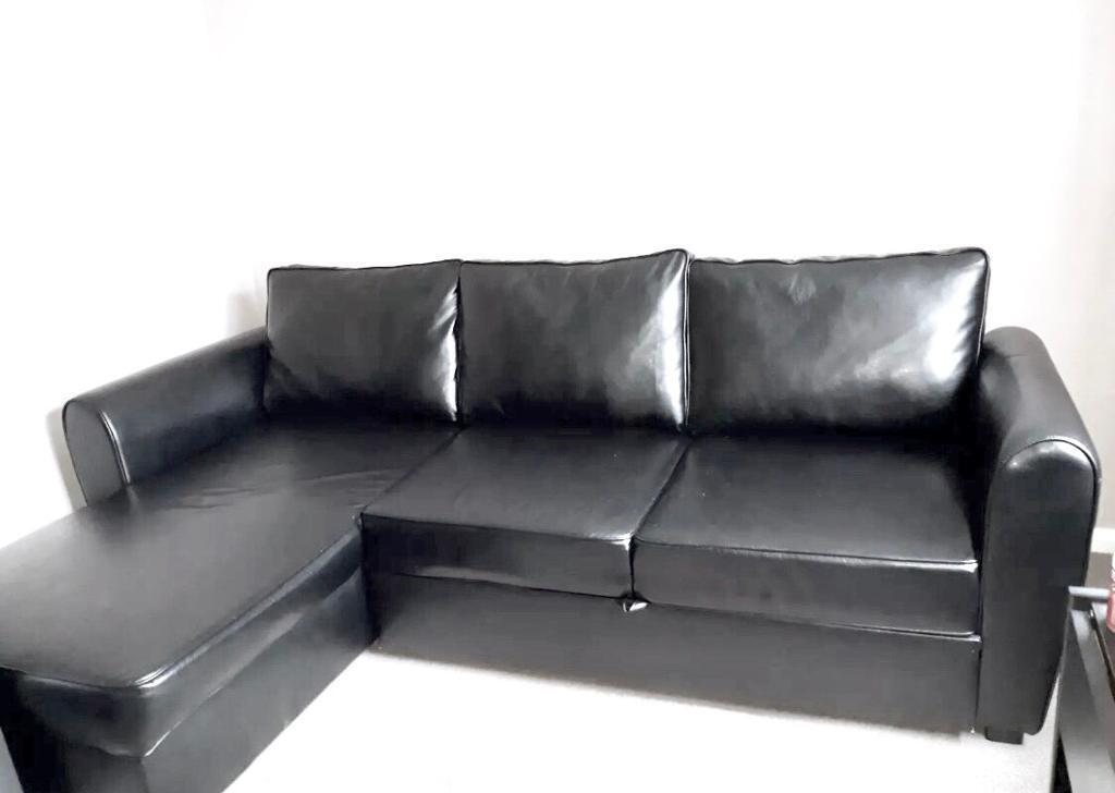 Siena Corner Sofa Bed Faux Black Leather Large Storage Good Condition L