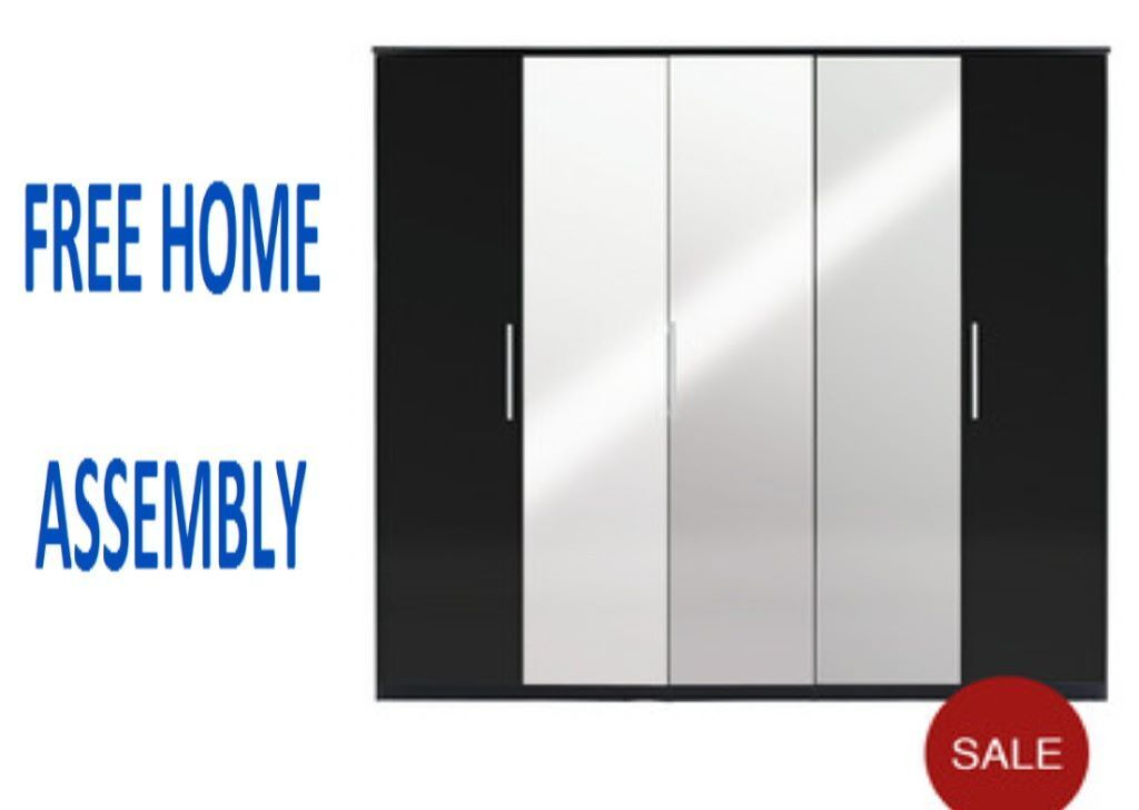 Incroyable BEAUTIFULL PRAGUE 5 DOOR MIRRORED WARDROBE IN HIGH GLOSS BLACK WITH FREE  HOME ASSEMBLY BRAND NEW