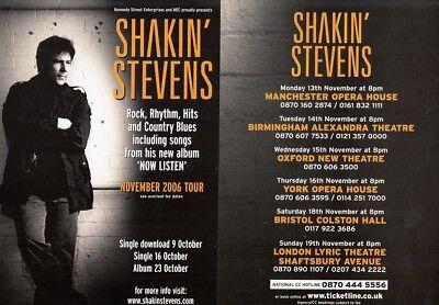 SHAKIN' STEVENS - Original Concert Flyer SHAKIN' STEVENS CONCERT TOUR 2006 F#39