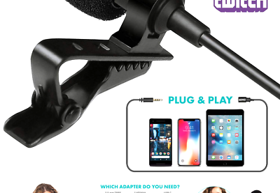 Movo PM10 Lavalier Microphone And Lapel Microphone For IPhone, IPad, Android,... - $18.93