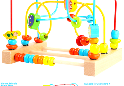 Timy First Bead Maze Roller Coaster Wooden Educational Circle Toy For Toddlers - $21.40