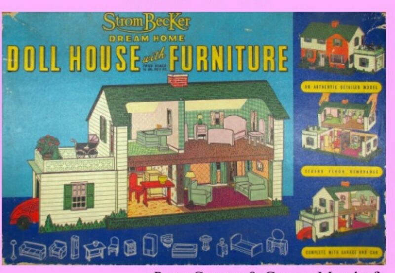 Vintage Strombecker Dream Home Dollhouse With Furniture