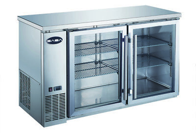 Saba 60 Back Bar Refrigerator Beverage Cooler 2 Glass Doors 24 Depth