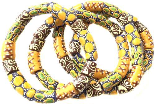 Handmade Ghana Fancy Yellow Gold multi bracelet-African Trade Beads-Ghana