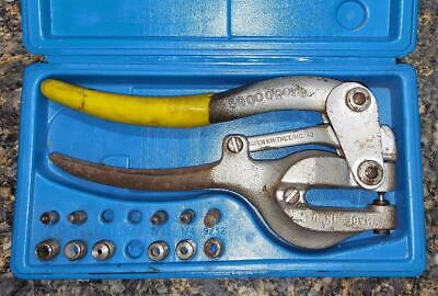 Vintage Roper Whitney No. 5 Jr Hand Punch And Die Set W 5 Punches Dies