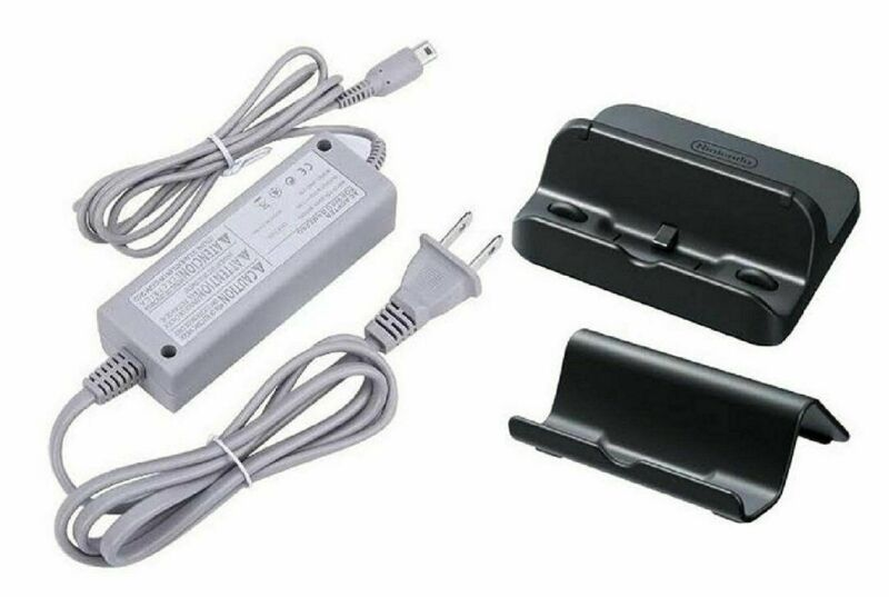 Genuine Nintendo Power AC Charger Adapter Wii U GamePad with Black Cradle Stand