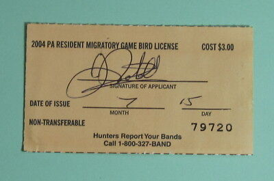 2004 Pennsylvania Resident Migratory Game Bird Hunting License Tag...Free Ship!