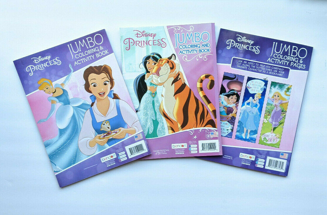 Disney Princess Jumbo Coloring And Activity Books 3 Pack Bundle Gift Set - $12.99