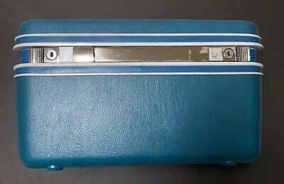Vintage Samsonite Silhouette Med Blue Train Travel Makeup Case Luggage W/ Mirror