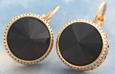 Topaz Onyx - 15x23mm Gemstone Drop Huggie Hoop Earrings Gold Filled Jewelry ~Topaz Onyx Opal