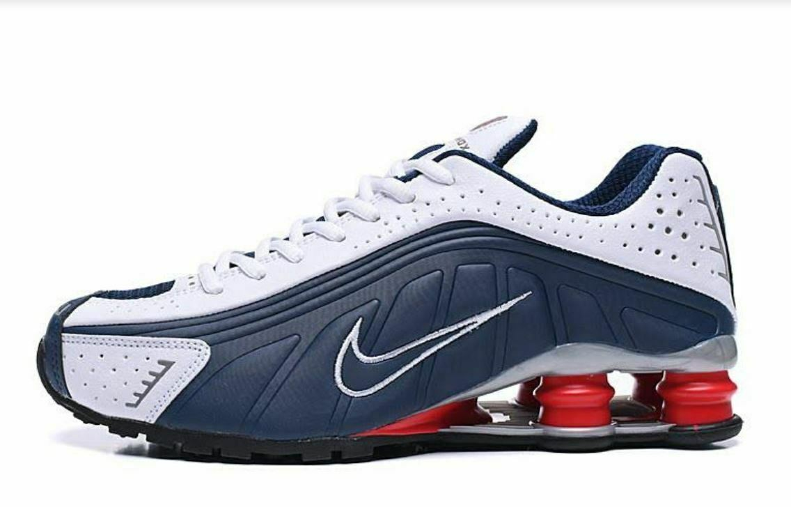 timeless design 95bca b7a3f MENS SILVER RED WHITE & BLUE NIKE SHOX R4 ATHLETIC SHOES SIZES 7-11