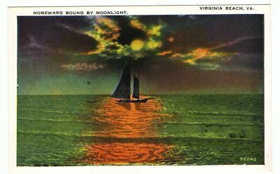 Unused Postcard Homeward Bound by Moonlight Virginia Beach VA Sailboat