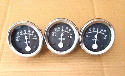 Ammeter 2 60-0-60 Ampere Meter For Car Trucks Tractors Bus Generator 3 Pcs