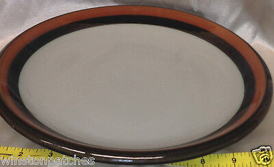 "RORSTRAND SWEDEN ANNIKA DINNER PLATE 10 3/4"" BROWN & ORANGE TRIM OFF WHITE"