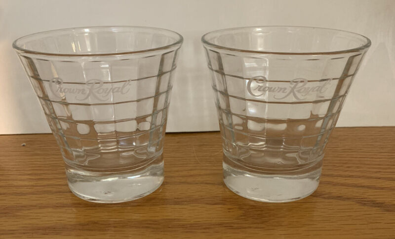 Crown Royal Whiskey Tapered Optic Block Glass Tumblers, Rocks Glass, Set of 2