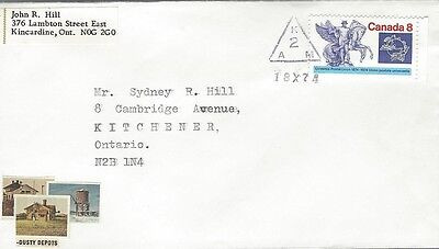 1974 #648 UPU Centenary cover with Dusty Depots cachet & unusual cancel