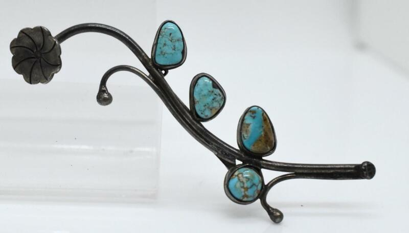 old Hand Made Turquoise Native American Branch FLOWER Sterling Silver Brooch Pin