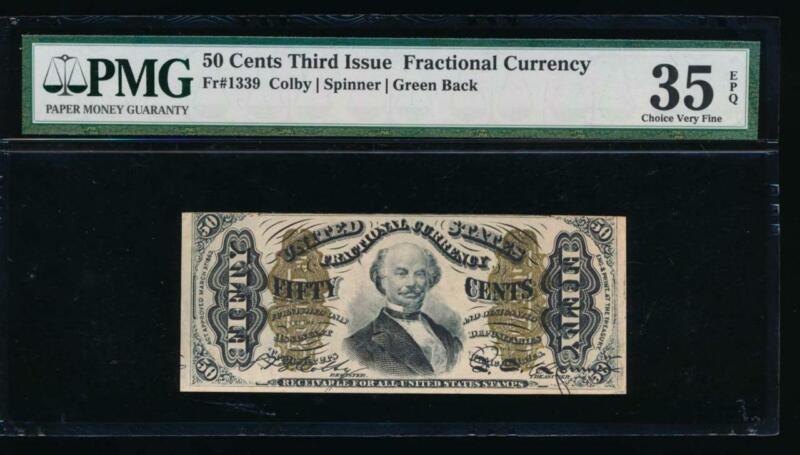 AC Fr 1339 $0.50 1864 fractional Third issue Spinner PMG 35 EPQ green back