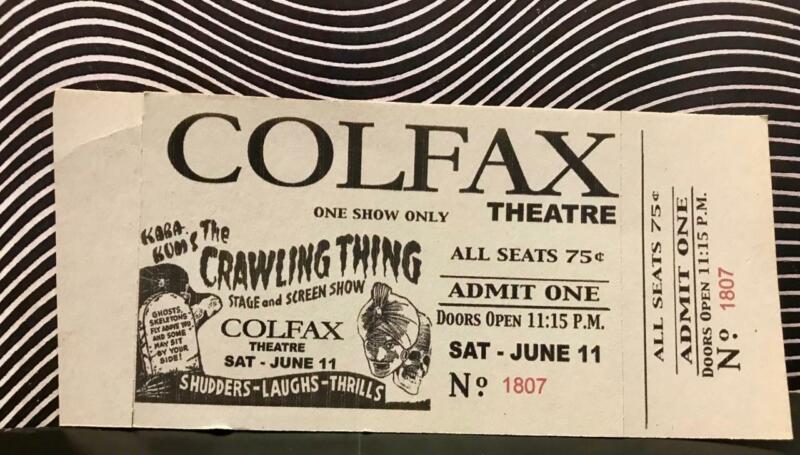 Spook Show Live Kara Kum The Crawling Thing from Planet 13 Vintage Original Tix