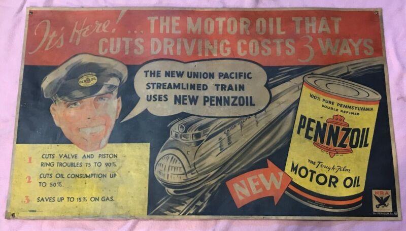 Vintage Pennzoil motor oil  banner / poster