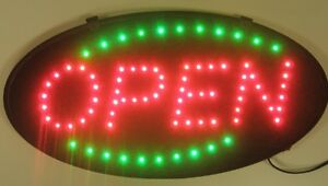 Animated-LED-Neon-Light-Open-Sign-Running-Green-Oval-Shape-Green-LED-RS733-NEW