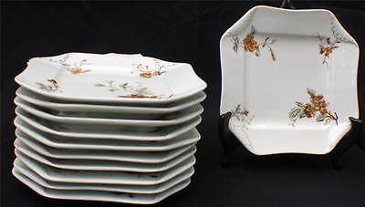 Antiq HAVILAND Limoges WILD PLANTS Square Napkin Fold Shape 7