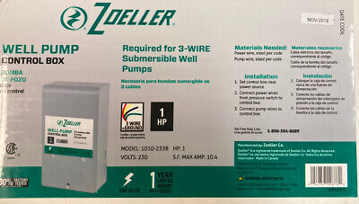 Zoeller Well Pump Control Box 1 Hp Model 1010-2338 Sw1229a 230 Volts 3 Wire