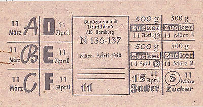 Lebensmittelmarken 1950 Hamburg Besatzung Zucker  BRD Lebensmittelkarte rar