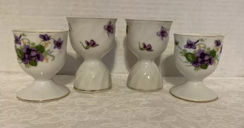 4 Antique Vintage Egg Cups Purple Green White Violets Pattern