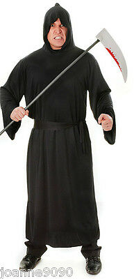"MENS GRIM REAPER LONG BLACK HOODED HALLOWEEN COSTUME HORROR ROBE UP TO 50"" CHEST"