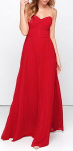 CHARMING STRAPLESS RED MAXI DRESS