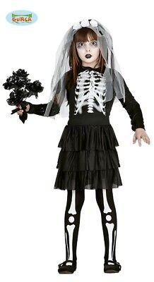 Guirca Braut Skelett Kinder Kostüm für Halloween Mädchen Halloweenkostüm