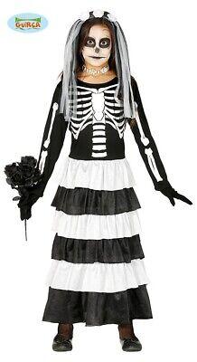 Guirca Braut Kostüm Skelett für Mädchen Zombie Braut