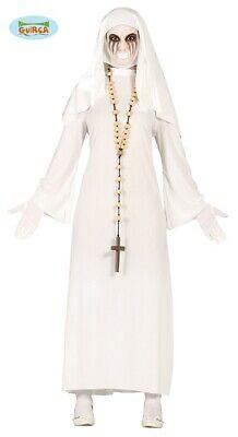 Geister Nonne Kostüm für Damen Weiss Gespenst Halloween Horror ()