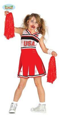 Guirca Zombie Cheerleader Kostüm für Mädchen Karneval Halloween Kinderkostüm ()