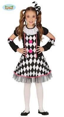 Clown Harlekin Mädchen Kostüm Pirrot Narr Kinderkostüm