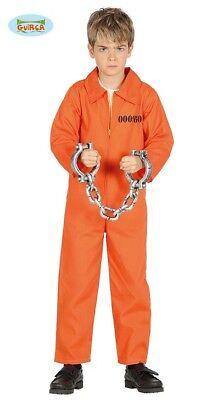 Guirca Sträfling Kostüm für Kinder Jungen Overall Gefängnis Gefangener (Gefängnis Overall Kostüm)