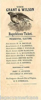 1872 Ulysses Grant & Henry Wilson Virginia Republican Electoral Ticket (5138)