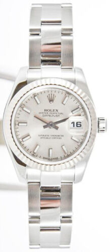 Rolex Datejust 179174 Steel Band Silver Stick Dial & White Gold Fluted Bezel